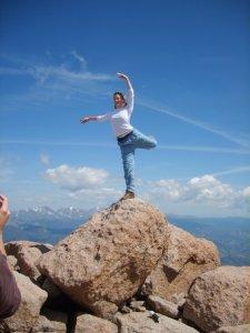 Attitude on Long's Peak-- you've gotta love a Colorado dancer!