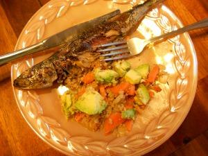 Fresh ocean-caught sardine with lemon & garlic, quinoa & veggies