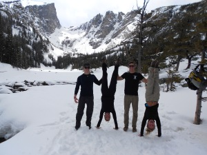 Fellow hikers who stopped for a fun photo