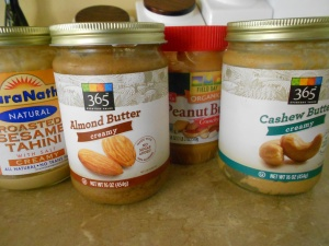 I like to keep a selection of nut and seed butters.