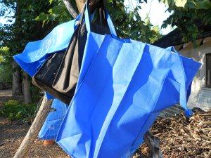 drying shopping bags in the sun
