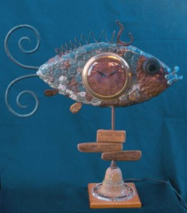 Fish clock made by Scott Freeman, with poem by Lee Freeman, age 3