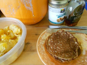 For breakfast, I had these left over sourdough pumpkin spice pancakes, made with pumpkin from my garden. Almond & flax meal add protein and good fats, and I also spread them with cashew butter.