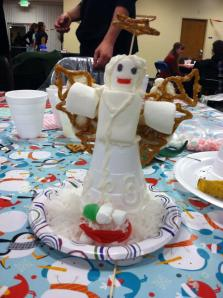 My son, Joel, made this angel from marshmallow and a cup.