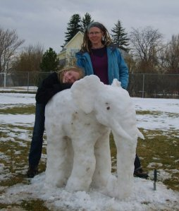 My daughter and I made this snow elephant near our house a few years ago (with my hubby, who was snapping the photo.)