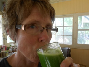 drinking enzyme-packed green juice