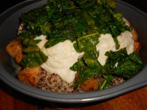 Veggie White Sauce with greens over quinoa & fish patties